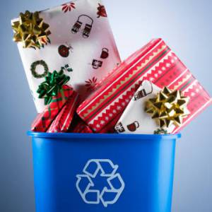 Christmas presents in recycling bin